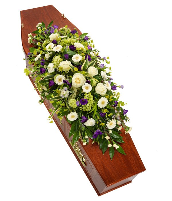 Purple and White Coffin Sprays