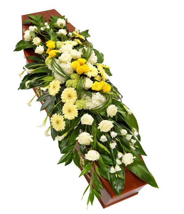 Yellow and White Coffin Sprays
