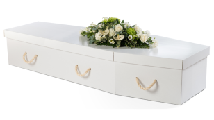 White Cardboard Traditional Coffin